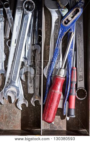 Set of Old Tools in a dirty toolbox