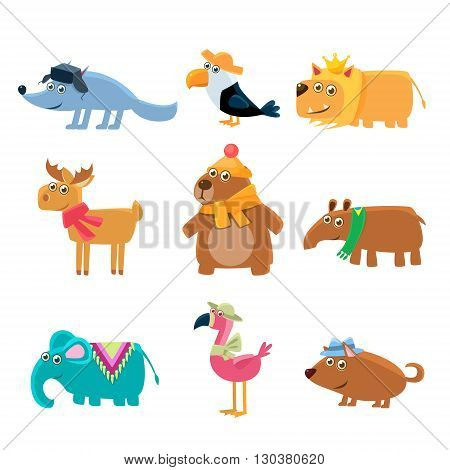 Dressed Animals Set Of Cute Childish Style Bright Color Design Icons Isolated On White Background