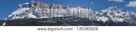Italian Dolomites Huge Panorama View In Winter Time