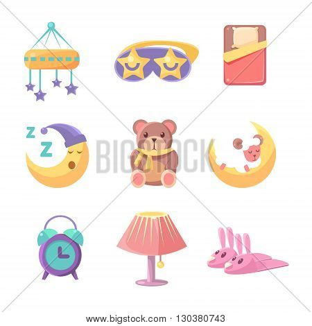 Baby Bedroom Objects Set Of Cute Childish Style Light Color Design Icons Isolated On White Background