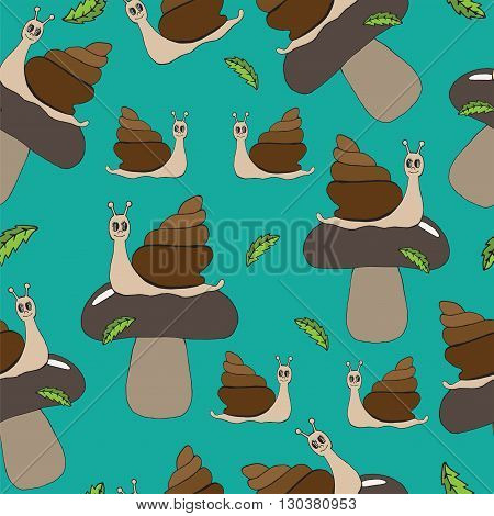 Seamless with beautiful brown mushroom with green leaves and happy snail cartoon. Vector illustration of snail can be used to design for T-shirt card poster invitation.