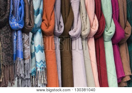 Silk Pashmina At The Market