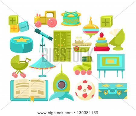 Kids Room Interior Elements Set Of Bright Color Simplified Style Vector Icons Isolated On White Background