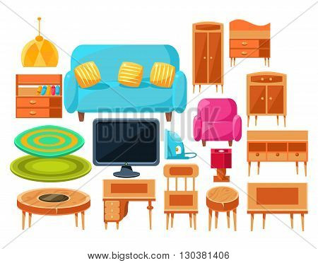 Living Room Interior Elements Set Of Bright Color Simplified Style Vector Icons Isolated On White Background