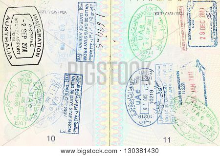 Passport visa of different destinations scenic stamp