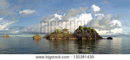 Raja Ampat Papua huge panorama landscape on sunny day
