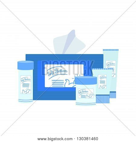 Set Of Baby Care Products Flat Simple Cute Style Cartoon Design Vector Illustration Isolated On White Background