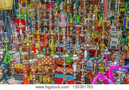 ACRE ISRAEL - FEBRUARY 20 2016: The wide range of hookahs in the Turkish Bazaar on February 20 in Acre.