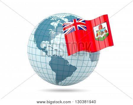 Globe With Flag Of Bermuda