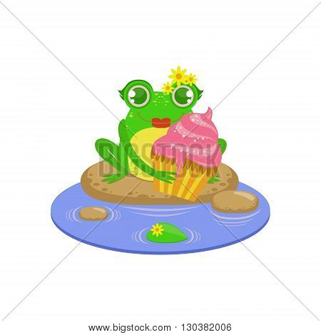 Cartoon Frog Character With Cupcake Flat Bright Color Vector Sticker Isolated On White Background In Simple Childish Style