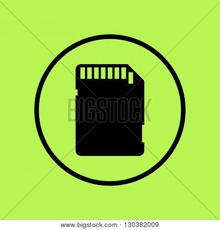 Sd Card Icon In Vector Format. Premium Quality Sd Card Symbol. Web Graphic Sd Card Sign On Green Cir