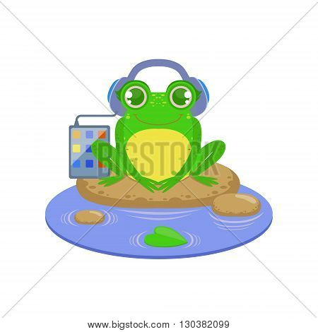 Cartoon Frog Character Listening the Music Flat Bright Color Vector Sticker Isolated On White Background In Simple Childish Style