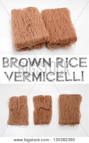Brown Rice Vermicelli have to step for separated from the pack . Soaked in water to prepare cooked the next step.