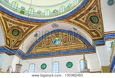 ACRE ISRAEL - FEBRUARY 20 2016: The geometric stone patterns on the walls and dome of Al-Jazzar mosque on February 20 in Acre.