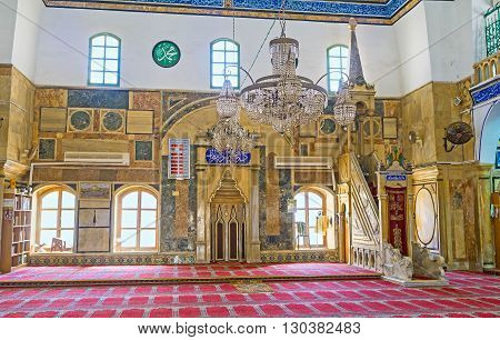 ACRE ISRAEL - FEBRUARY 20 2016: The mihrab and minbar of Al-Jazzar mosque made of granite and marble on February 20 in Acre.