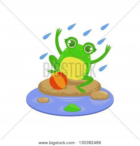 Cartoon Frog Character Playing Under Rain Flat Bright Color Vector Sticker Isolated On White Background In Simple Childish Style