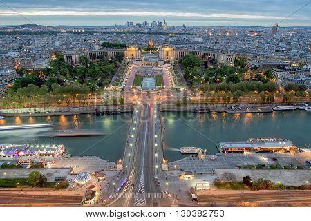 Paris night view city scape landscape panorama