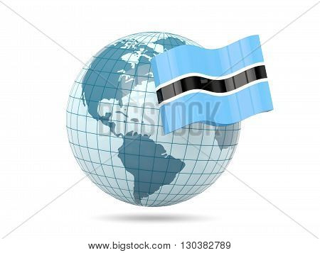 Globe With Flag Of Botswana