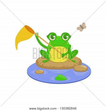 Cartoon Frog Character Catchin Flies Flat Bright Color Vector Sticker Isolated On White Background In Simple Childish Style