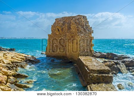 The ruined Crusaders' harbor is one of the most scenic city locations of Acre Israel.