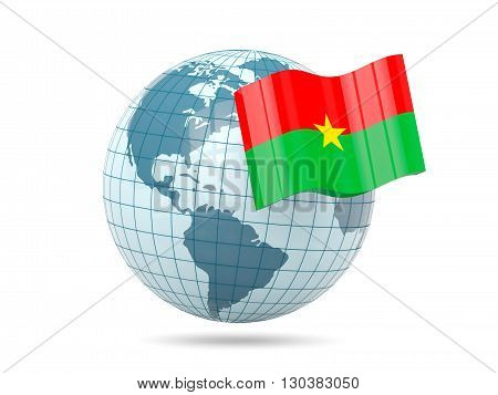 Globe With Flag Of Burkina Faso