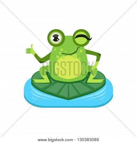 Approving Cartoon Frog Character Flat Bright Color Vector Sticker Isolated On White Background In Simple Childish Style