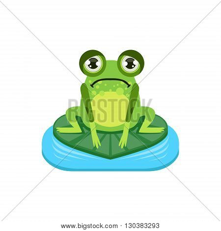 Upset Cartoon Frog Character Flat Bright Color Vector Sticker Isolated On White Background In Simple Childish Style