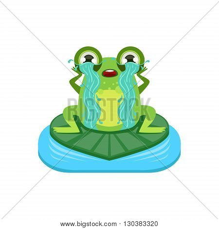 Tearful Cartoon Frog Character Flat Bright Color Vector Sticker Isolated On White Background In Simple Childish Style