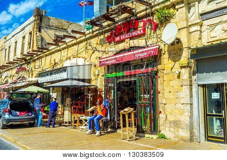 TEL AVIV ISRAEL - February 25 2016: Jaffa is best place to try the Israeli cuisine in one of local cafes or restaurant on February 25 in Tel Aviv.