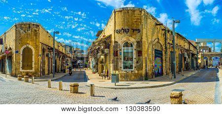 TEL AVIV ISRAEL - FEBRUARY 25 2016: The old Jaffa neighborhoods are the nice places for the daily walks there are a lot of cafes stores art galleries and landmarks on February 25 in Tel Aviv.