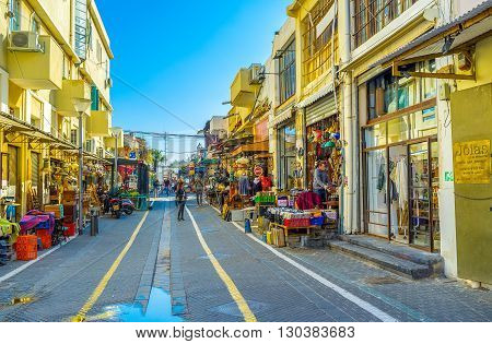 TEL AVIV ISRAEL - FEBRUARY 25 2016: The flea market neighborhood is the best place to choose unusual souvenirs and interesting gifts from old Jaffa on February 25 in Tel Aviv.