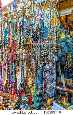 TEL AVIV ISRAEL - FEBRUARY 25 2016: The flea market is the best place to choose the amulet for luck protective talisman for home or some interesting jewelry on February 25 in Tel Aviv.