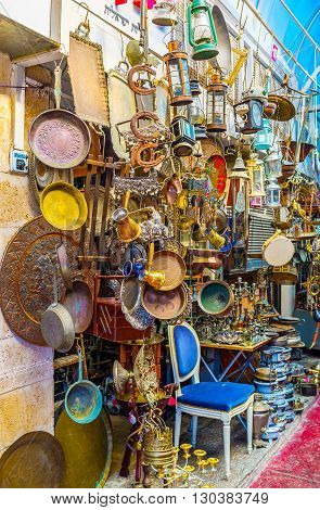 TEL AVIV ISRAEL - FEBBRUARY 25 2016: The flea market of Jaffa is one of the main city landmarks with a lot of souvenirs for each taste on February 25 in Tel Aviv.