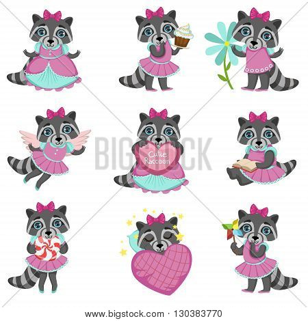 Cute Girl Raccoon Cartoon Set Of Colorful Illustrations In Cute Girly Cartoon Style Isolated On White Background