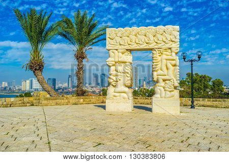 TEL AVIV ISRAEL - FEBBRUARY 25 2016: The sculpture in park of Abraham Shechterman is the symbol of the gateway to Israel the Promised Land to the People of Israel on February 25 in Tel Aviv.