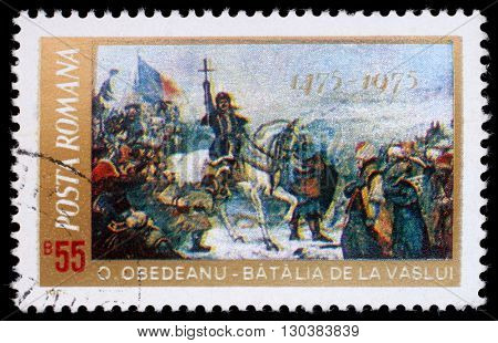 ZAGREB, CROATIA - JULY 19: a stamp printed in Romania shows 500th Anniversary Defeat of the Turcs by Stephan the Great  Battle of Vaslui by O. Obedeanu, circa 1975, on July 19, 2012, Zagreb, Croatia