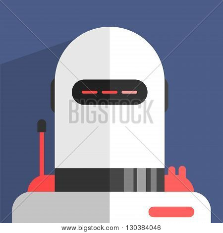 White Madern Design Robot Character Portrait Icon In Weird Graphic Flat Vector Style On Bright Color Background