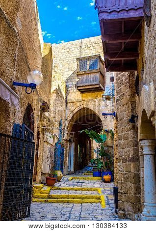 The old stone streets of Jaffa are full of interesting places - museums galleries medieval mansions Tel Aviv Israel.