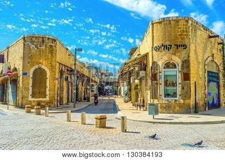 TEL AVIV ISRAEL - FEBRUARY 25 2016: The old Jaffa nowadays is the historic district of Tel Aviv and the place of tourist interest on February 25 in Tel Aviv.