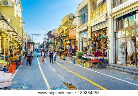 TEL AVIV ISRAEL - FEBRUARY 25 2016: The flea market of old Jaffa is one of the notable landmarks of the city with the wide range of interesting goods and souvenirs on February 25 in Tel Aviv.