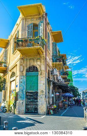 TEL AVIV ISRAEL - FEBBRUARY 25 2016: The narrow corner house in the flea market of Jaffa on February 25 in Tel Aviv.