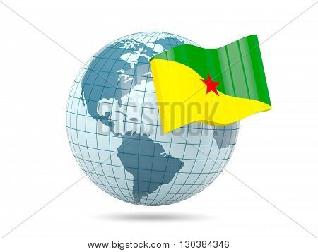 Globe With Flag Of French Guiana