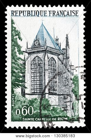 FRANCE - CIRCA 1971 : Cancelled postage stamp printed by France, that shows Sainte Chapelle Riom.