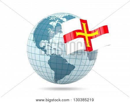 Globe With Flag Of Guernsey