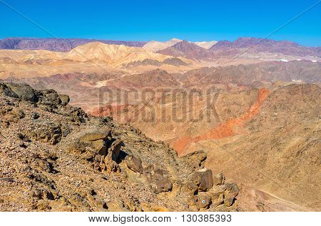 The desert of Eilat mountains boasts the amazing colors perfectly seen from Zefahot peak Israel.