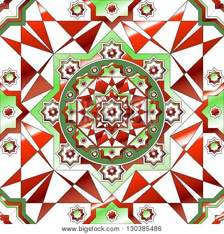 Simple Retro Geometric Christmas Pattern. Traditional Colors. Background Can Be Copied Without Any S