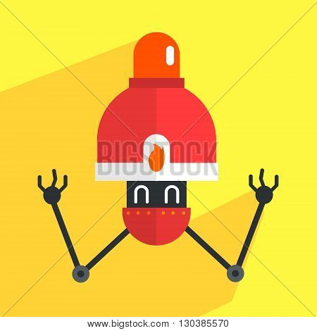 Fire Alarm Robot Character Portrait Icon In Weird Graphic Flat Vector Style On Bright Color Background