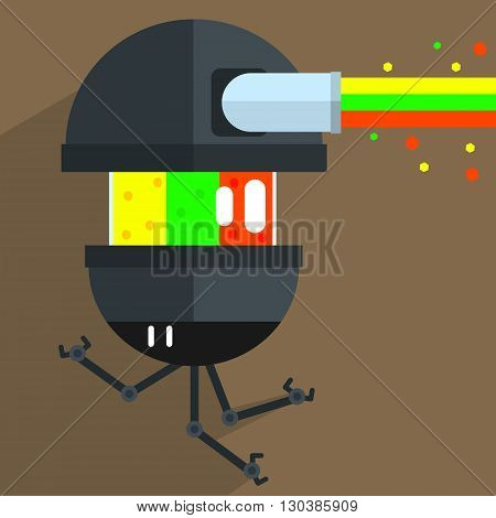 Army Drone Robot Character Portrait Icon In Weird Graphic Flat Vector Style On Bright Color Background