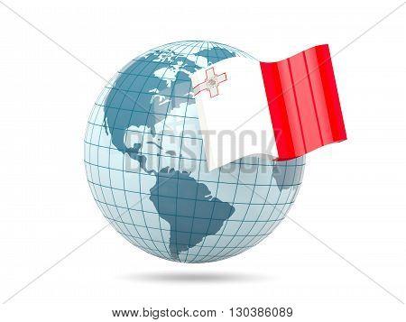 Globe With Flag Of Malta