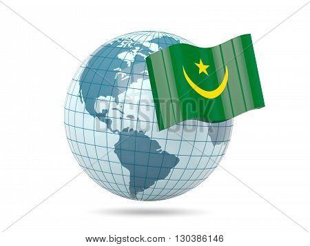 Globe With Flag Of Mauritania